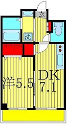 アリエッタコート 1階1DKの間取り