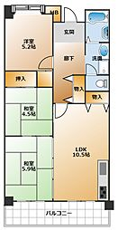 明泉寺南住宅[6階]の間取り