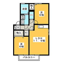 ウッズパディーA[2階]の間取り