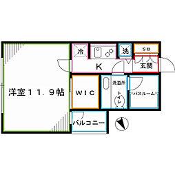 アクロスシティ中野坂上ハイツ 24階1Kの間取り