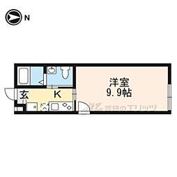 京福電気鉄道北野線 北野白梅町駅 徒歩12分の賃貸マンション 1階1Kの間取り