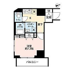 東京メトロ東西線 門前仲町駅 徒歩5分の賃貸マンション 6階1Kの間取り
