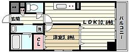 阪神本線 魚崎駅 徒歩7分の賃貸マンション 8階1LDKの間取り