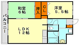 フラワーハイツ[5階]の間取り