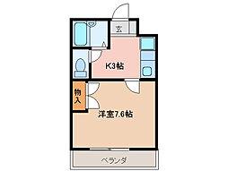 プルーリオン98[4階]の間取り