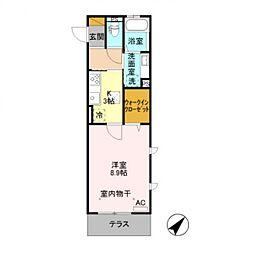 JR信越本線 長野駅 徒歩6分の賃貸アパート 1階1Kの間取り