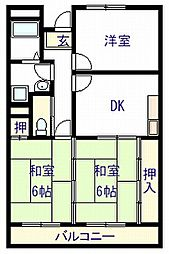 大阪府岸和田市戎町の賃貸マンションの間取り