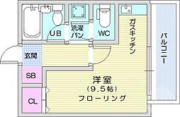 仙台市営南北線 黒松駅 徒歩15分の賃貸マンション 1階ワンルームの間取り