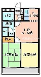 JR山陽本線 西川原駅 徒歩8分の賃貸マンション 2階2LDKの間取り