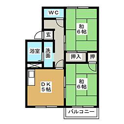 タウニースズキB棟[2階]の間取り