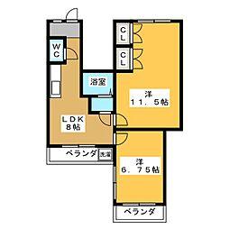 第2塚本ビル 2階2LDKの間取り
