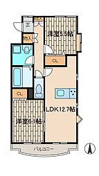 エルシャローム[2階]の間取り