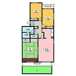 愛知県名古屋市名東区植園町3丁目の賃貸マンションの間取り