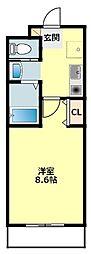 JR東海道本線 岡崎駅 徒歩7分の賃貸マンション 3階1Kの間取り
