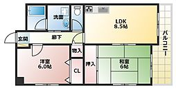 大阪府大阪市平野区長吉川辺3丁目の賃貸マンションの間取り