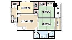 愛知県名古屋市昭和区御器所通2丁目の賃貸マンションの間取り