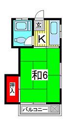 西部第二コーポ[4階]の間取り