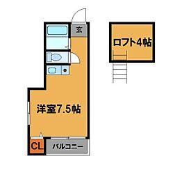 福岡県福岡市中央区鳥飼1丁目の賃貸アパートの間取り