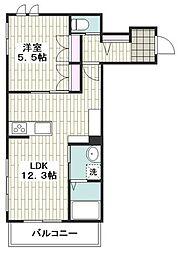 小田急江ノ島線 六会日大前駅 徒歩2分の賃貸マンション 1階1LDKの間取り