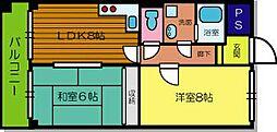 兵庫県尼崎市大庄中通2丁目の賃貸マンションの間取り