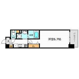 Osaka Metro堺筋線 長堀橋駅 徒歩3分の賃貸マンション 3階1Kの間取り