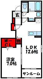 JR鹿児島本線 福間駅 5.3kmの賃貸アパート 1階1LDKの間取り
