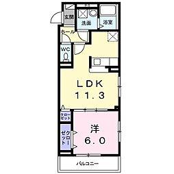 つくばエクスプレス 柏たなか駅 徒歩8分の賃貸アパート 2階1LDKの間取り
