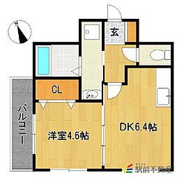 JR鹿児島本線 二日市駅 徒歩5分の賃貸マンション 2階1DKの間取り