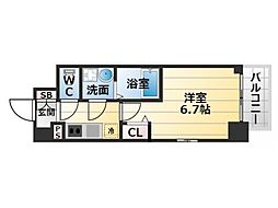 Osaka Metro千日前線 阿波座駅 徒歩9分の賃貸マンション 6階1Kの間取り