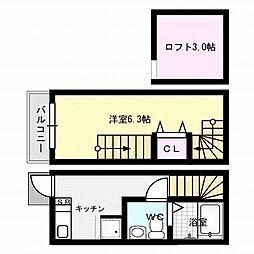 福岡市地下鉄七隈線 別府駅 徒歩11分の賃貸アパート 2階1Kの間取り