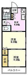 パーシモンハイム 1階2DKの間取り