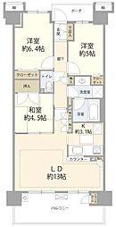オーベルグランディオ川崎(人気の大規模分譲マンション)[600号室]の間取り