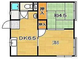 八幡ハイツ[208号室]の間取り