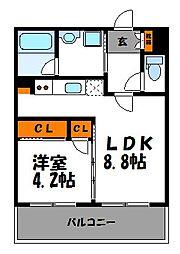 PIER PARK渡辺通(ピアパーク渡辺通り) 2階1LDKの間取り