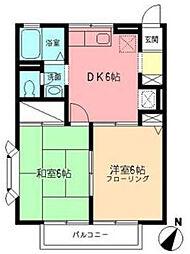 オークスアレイ矢部[2階]の間取り