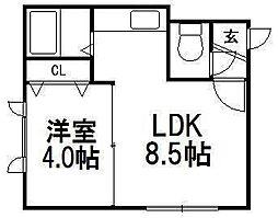 S−ing 2nd[101号室]の間取り