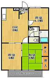 アルベロ福田[B103号室]の間取り