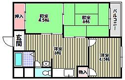 泉ヶ丘コーポラスA棟[4階]の間取り