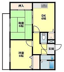 愛知県岡崎市江口2丁目の賃貸アパートの間取り