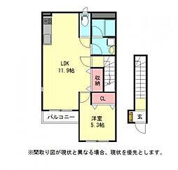 愛知県一宮市両郷町1丁目の賃貸アパートの間取り