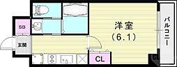 エステムコート神戸元町IIリザーヴ 1階1Kの間取り