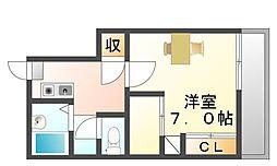 広島県福山市山手町4の賃貸アパートの間取り