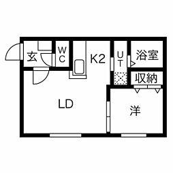 札幌市営東西線 西11丁目駅 徒歩13分の賃貸マンション 1階1LDKの間取り