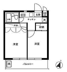 東京都世田谷区桜1丁目の賃貸マンションの間取り