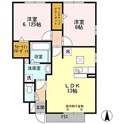 静岡県浜松市東区有玉台3丁目の賃貸アパートの間取り