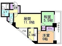 マリアール・ステーションパレス 4階2LDKの間取り