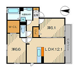 WITTY YOSHI[2階]の間取り