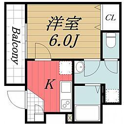 千葉県成田市上町の賃貸アパートの間取り