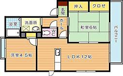 三洋タウン本城 D棟[2階]の間取り