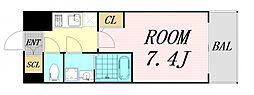サムティ福島Rufle 4階1Kの間取り